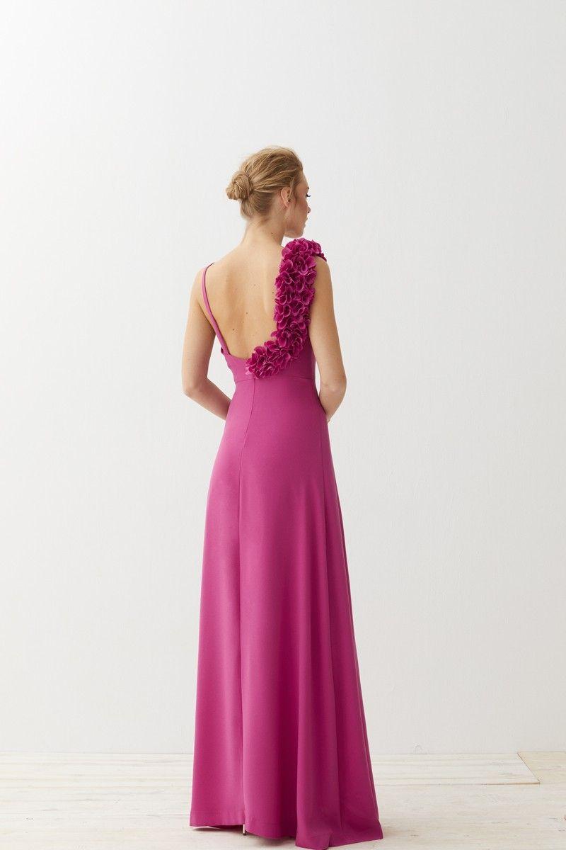 Vestido largo frambuesa flores Odelle | Vestidos de fiesta, Mono y ...