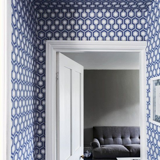 Hicks Wallpaper Office Geometric Wallpaper Hallway Blue