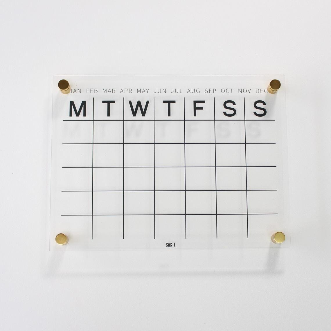 Small Clear Acrylic Monthly Wall Calendar Planner Wall Calendar Clear Acrylic Sheet Clear Acrylic