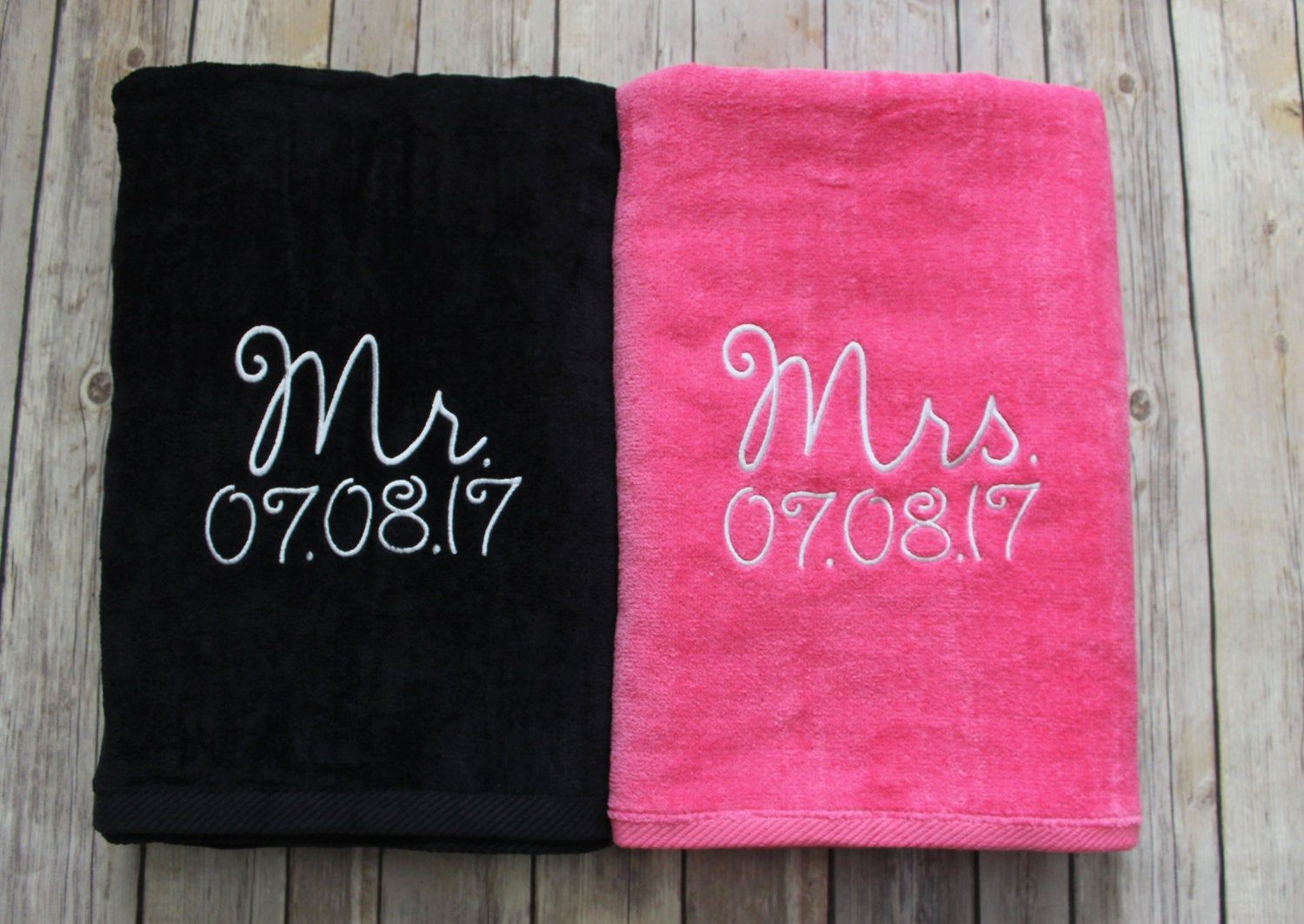 Mr And Mrs Black And Hot Pink Beach Towel Gift Set Mr And Mrs