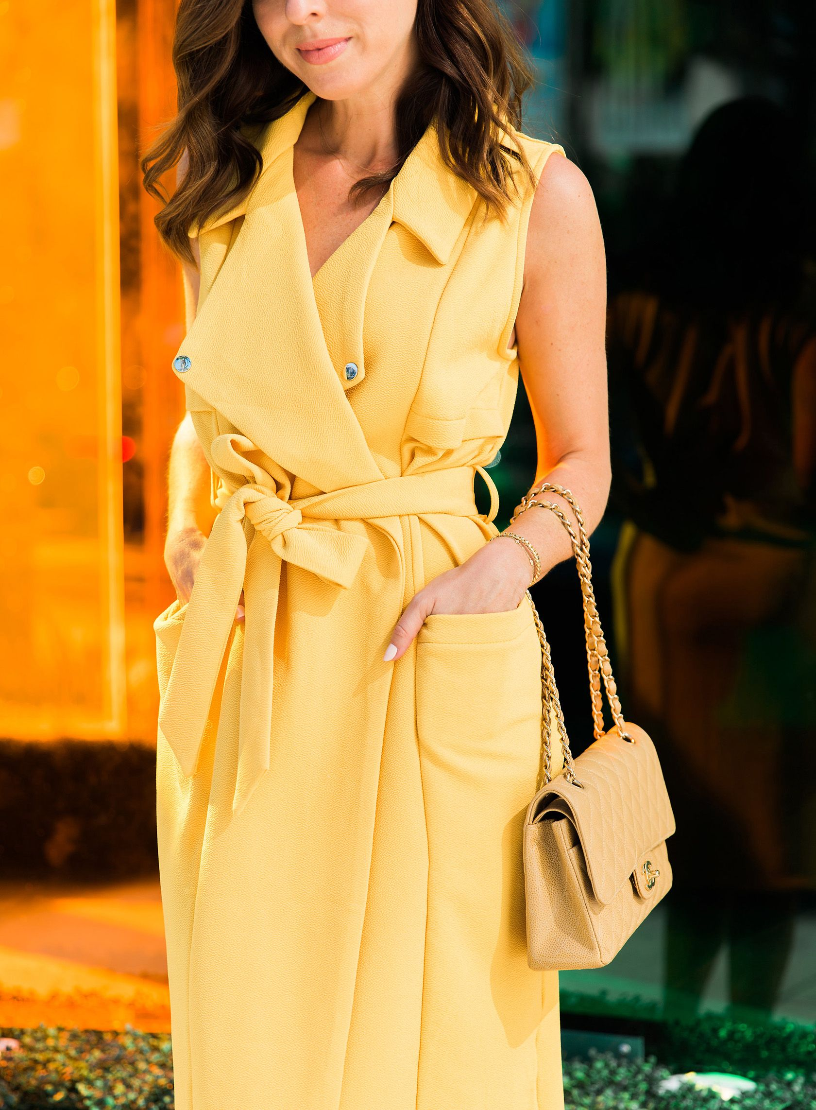 150b8f0df8 Sydne Style wears shein sleeveless trench dress for office outfit ideas  #yellow #trench #vest #chanel