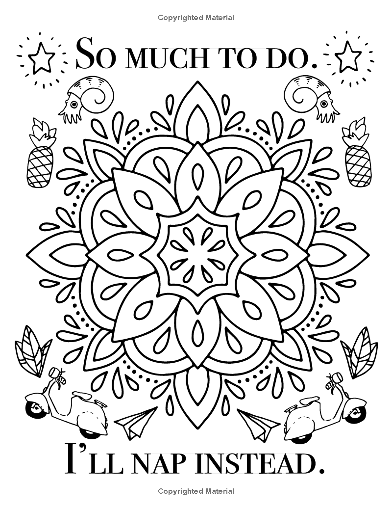 The Almost Adulting Book Of Coloring 30 Funny Quotes Doodle Mandalas Swear Word