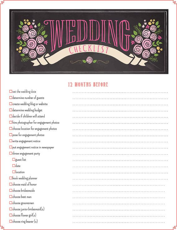 Wedding Checklist PDF    12 Month Printable Wedding Planning Checklist  17 Pages