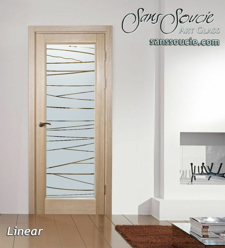 Interior Doors With Glass Etched Designs Angled Understated Modern Design Sans Soucie Linear