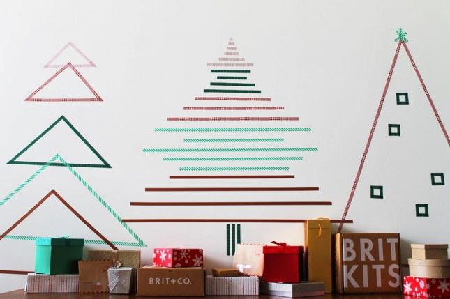 How To Create Christmas Wall Trees Using Nothing But Tape Alternative Christmas Tree Wall Christmas Tree Alternative Christmas