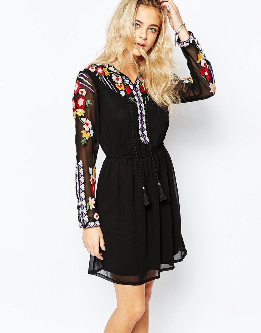 f42bf6729e5be Boohoo Folk Embroidered Skater Dress | Holiday Wardrobe. | List