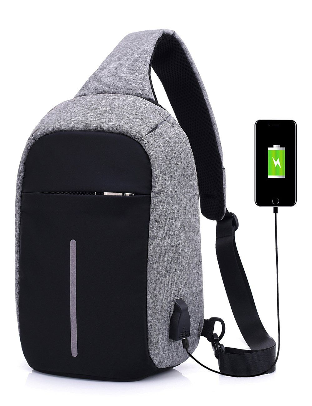 705c9d7ab6 Anti-Theft Sling Bags Chest Shoulder Bag Pack Crossbody Backpack with USB  Charge Port Daypack