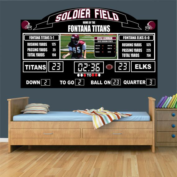 Childrens Football Bedroom Ideas: Personalized Football Scoreboard Wall Mural By