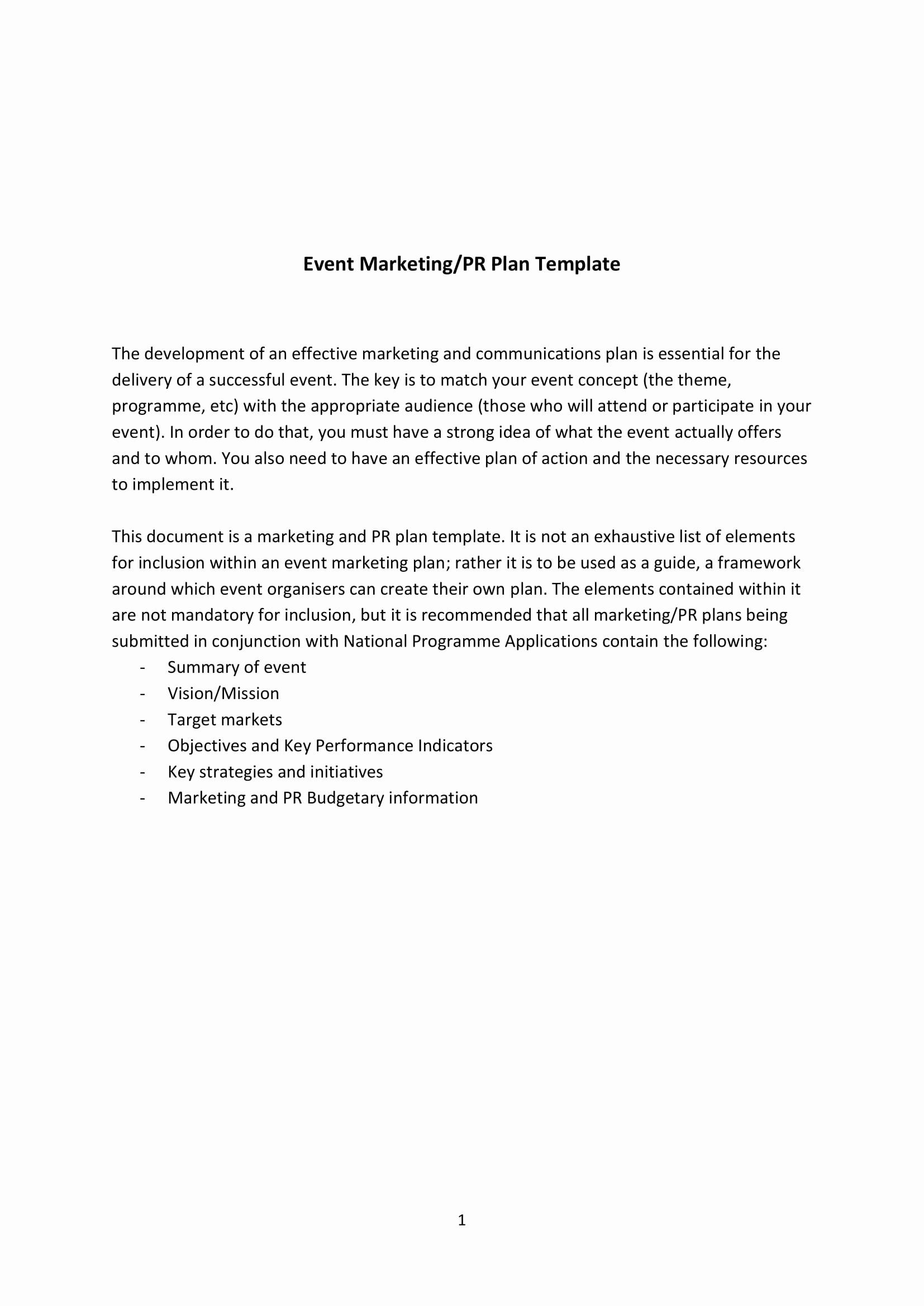 Event Marketing Plan Template in 2020 Event marketing