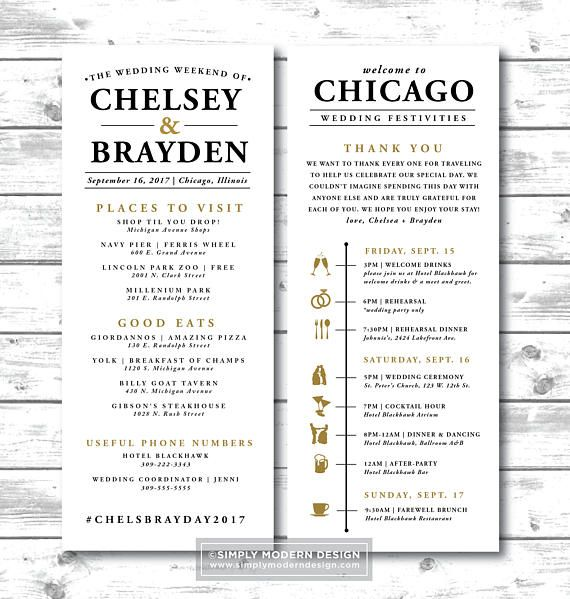 wedding timeline itinerary, modern, guest timeline, out of town ...