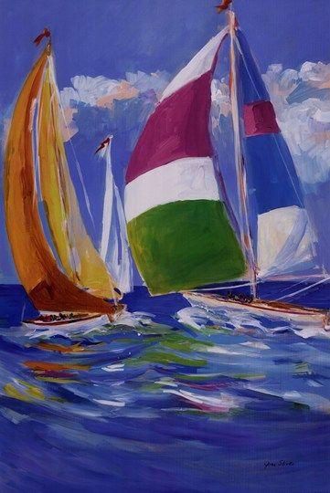 Full Sail II By Jane Slivka Sailboat Painting Sailboat Art Boat Painting