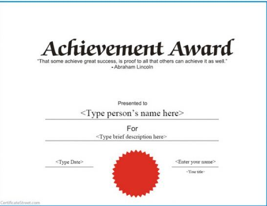 Free Printable Certificates Completion Free printable - certificate of achievement word template