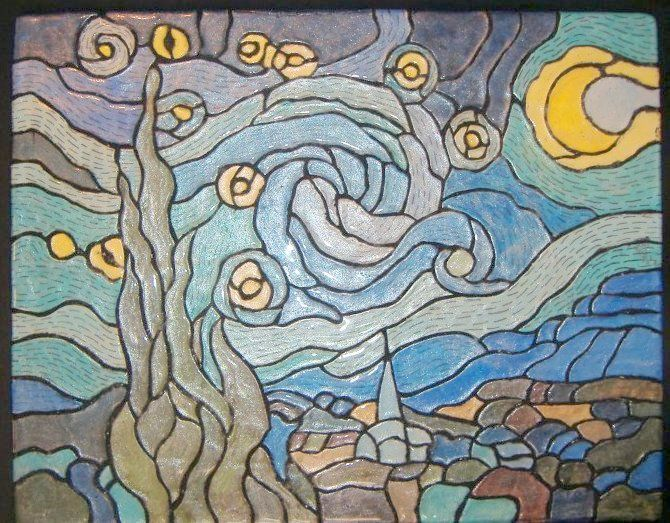 CUSTOM ART WORK - #VanGogh 's 'Starry Night' transformed into a #mosaic Tile backsplash #interiordesign