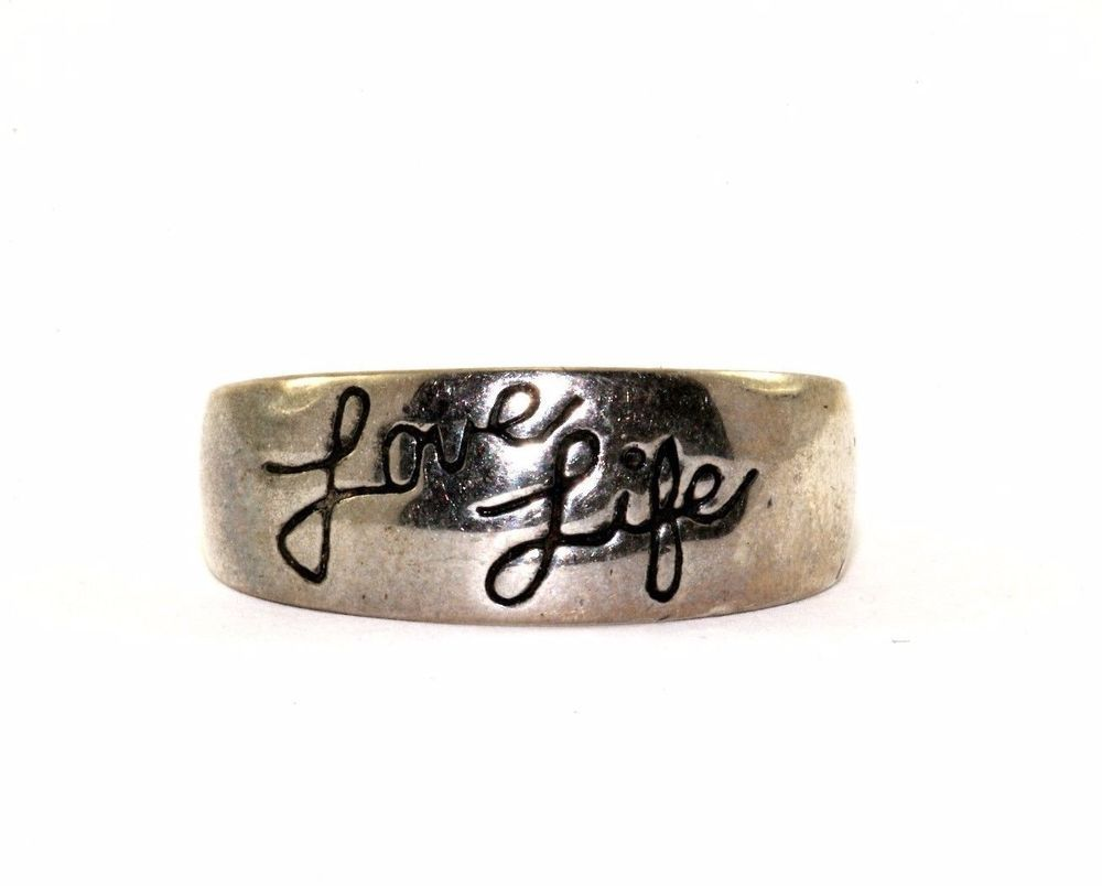 Vintage La Rocks Love Life Be Brave Ring Sz 7 925 Sterling Rg 2421