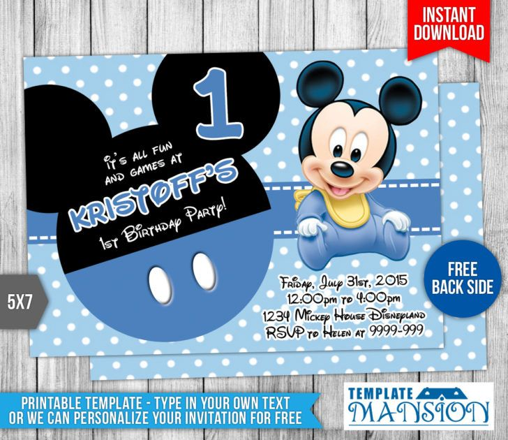Birthday Adorable Sky Blue Polkadot Baby Mickey Mouse 1st - mickey mouse invitation template