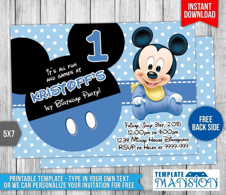 Birthday Adorable Sky Blue Polkadot Baby Mickey Mouse 1st