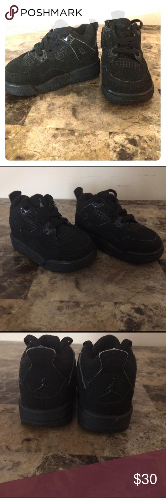 Jordan Retro 4 Jordan babies size 4c , black retros Jordan Shoes Sneakers