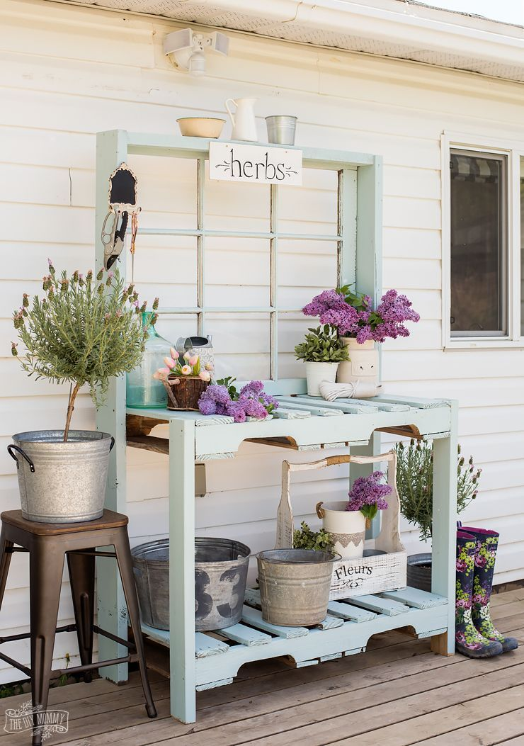 Pleasing Make A Potting Bench From Pallets An Antique Window Dailytribune Chair Design For Home Dailytribuneorg