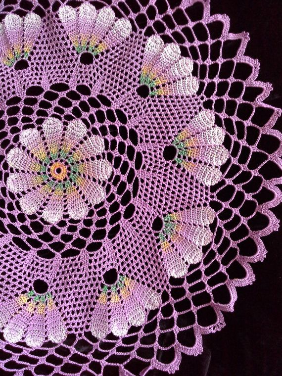 Hand crochet beautiful doily.Lilac hand -painted doily, white from ...