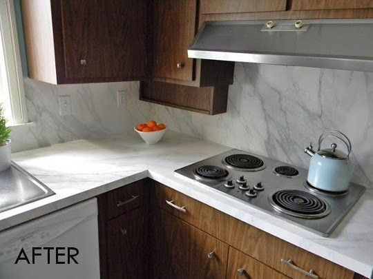 Before After Faux Marble Countertops Backsplash Marble