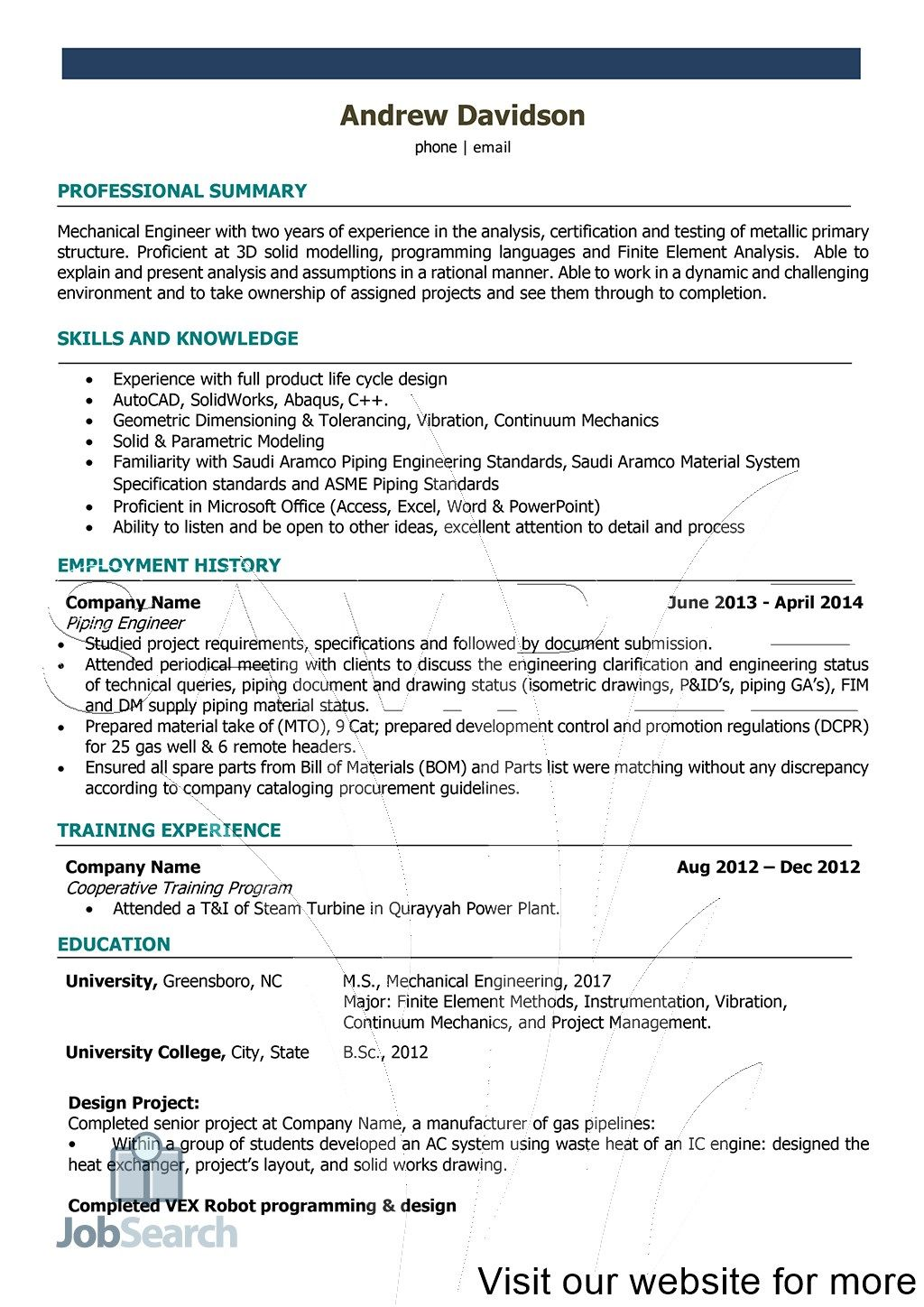 Resume for Engineering Internship Students Resume