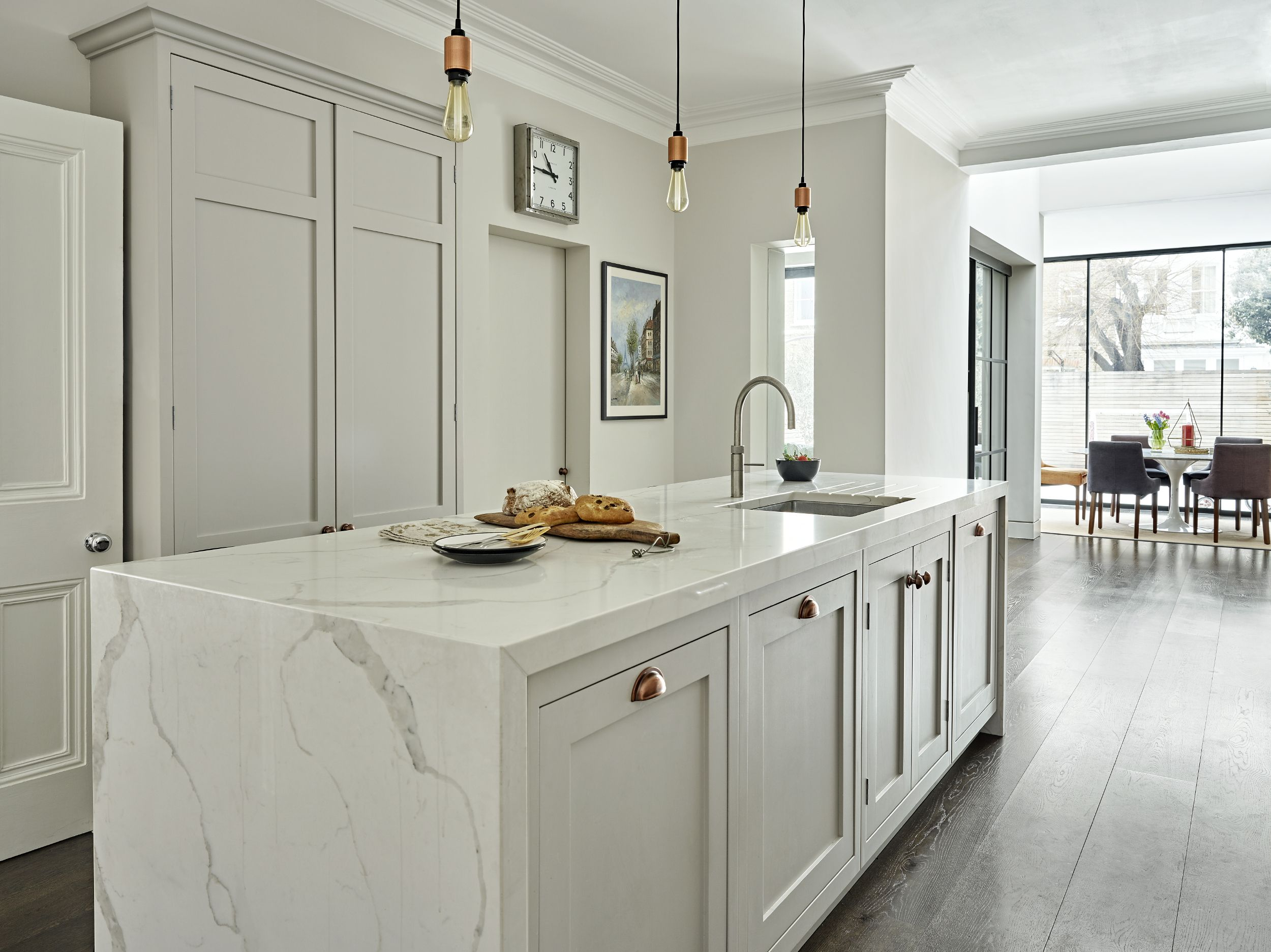 Contemporary shaker kitchen dining room with waterfall