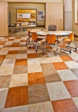 3 Colour Checkerboard Mct 3233 Shitake Mct 707 Barley Mct 767 Rust Modern Flooring Marmoleum Floors Vinyl Flooring