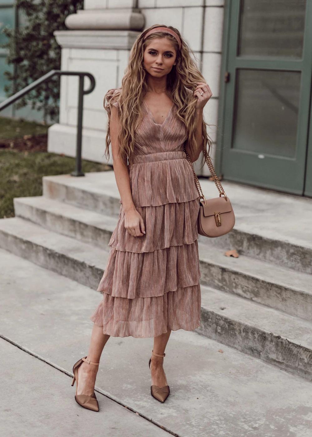 Blonde Fashion Style Womens Fashion Ootd Beach Waves Headband Holiday Dress Pink Dress Formal Dress Tan Chloe Tiered Dress Fashion Dresses [ 1400 x 1000 Pixel ]