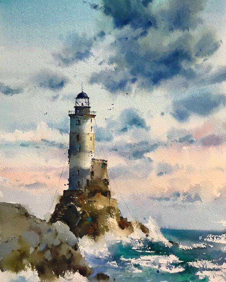 Aquarelle Abby Rochers Peinture Chinoise Pecheur Peche Barque Mer