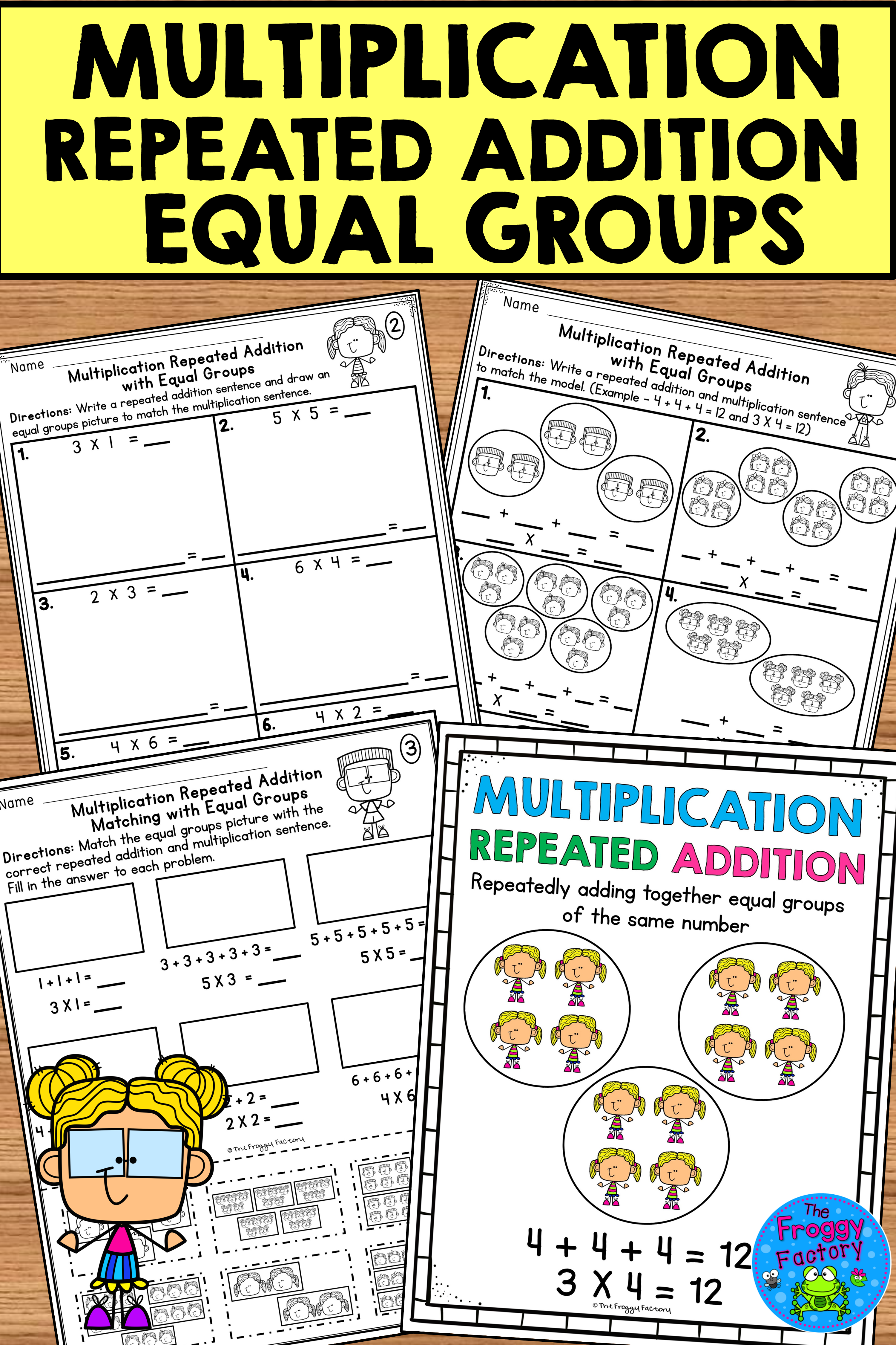 Multiplication Repeated Addition Equal Groups Worksheets