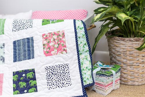 Easy Safari Party Charm Square Quilt and Pattern - Beginner Quilt Pattern