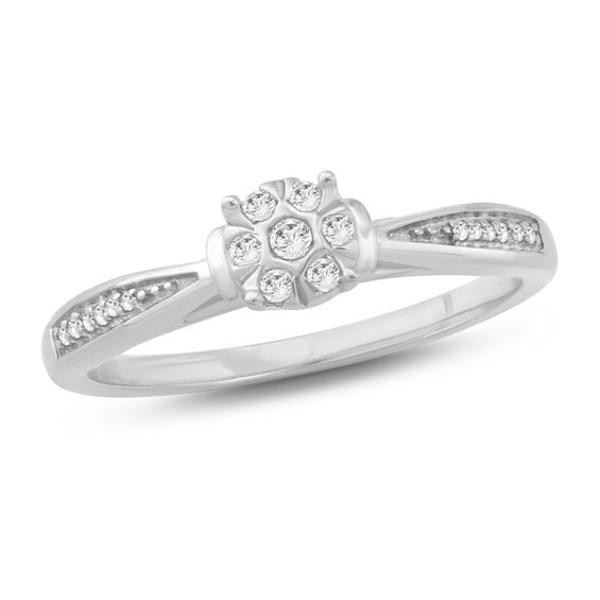 1 10 Ct T W Composite Diamond Collar Promise Ring In 10k White Gold White Gold Promise Rings Diamond Promise Rings