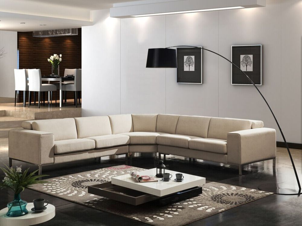 Modern Simple Design Big L-shape Sectional Fabric Sofa Set Living ...