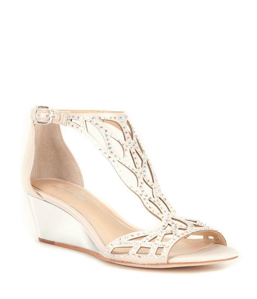 Imagine Vince Camuto Jalen Satin T-Strap Beaded Detail Wedge Sandals 4Hvak5O67