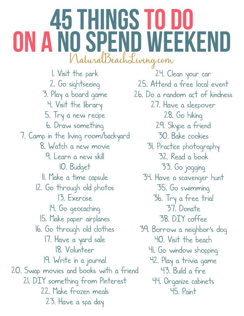 50 No Spend Weekend Activities that Everyone Loves #50freeprintables