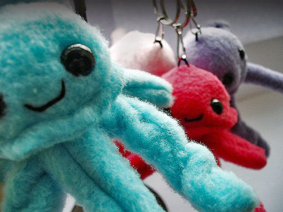 Jerry Jellyfish Keychain plush  6 Different colours by Plusheeze, £8.00