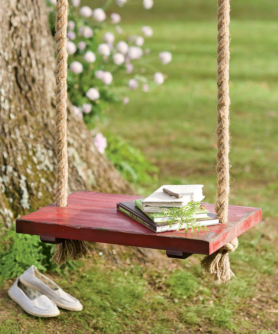 Rope Tree Swing with Wooden Seat by