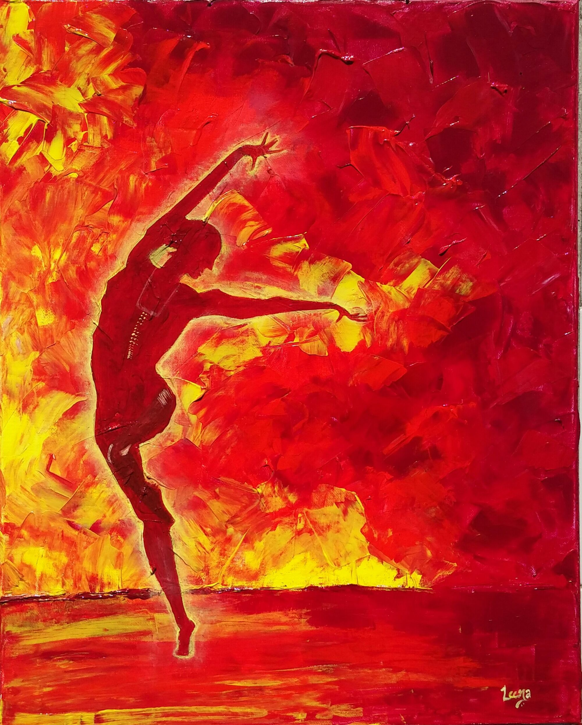 Fire dancer abstract acrylic painting artwork done for Palette knife painting acrylic