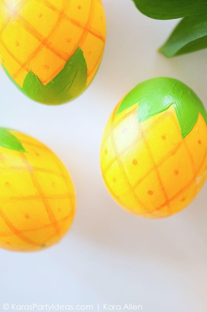 DIY Pineapple Easter Eggs via KarasPartyIdeas.com | Kara Allen | Kara's Party Ideas