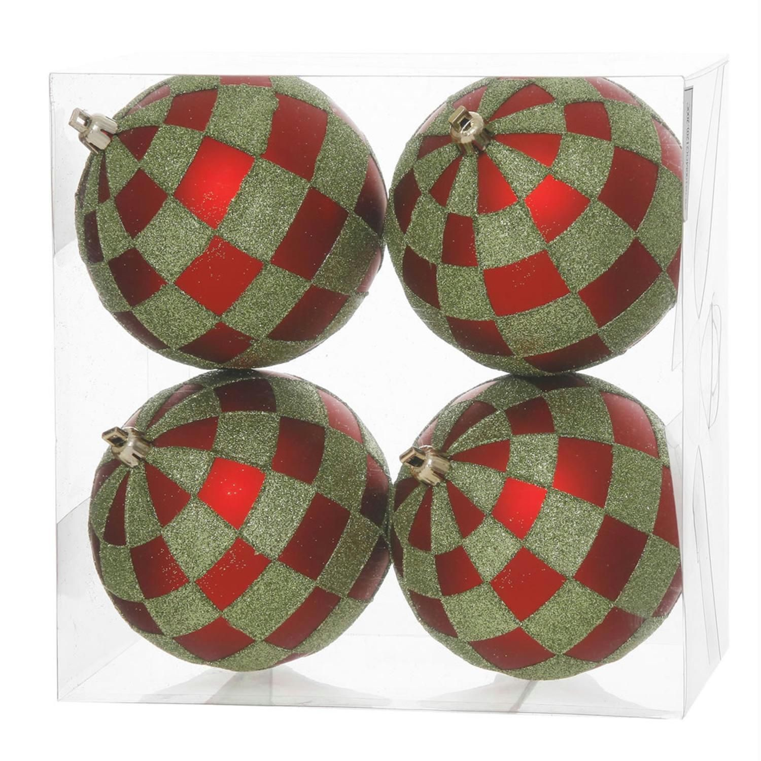 Pack Of 4 Red Matte & Lime Green Glitter Checkered