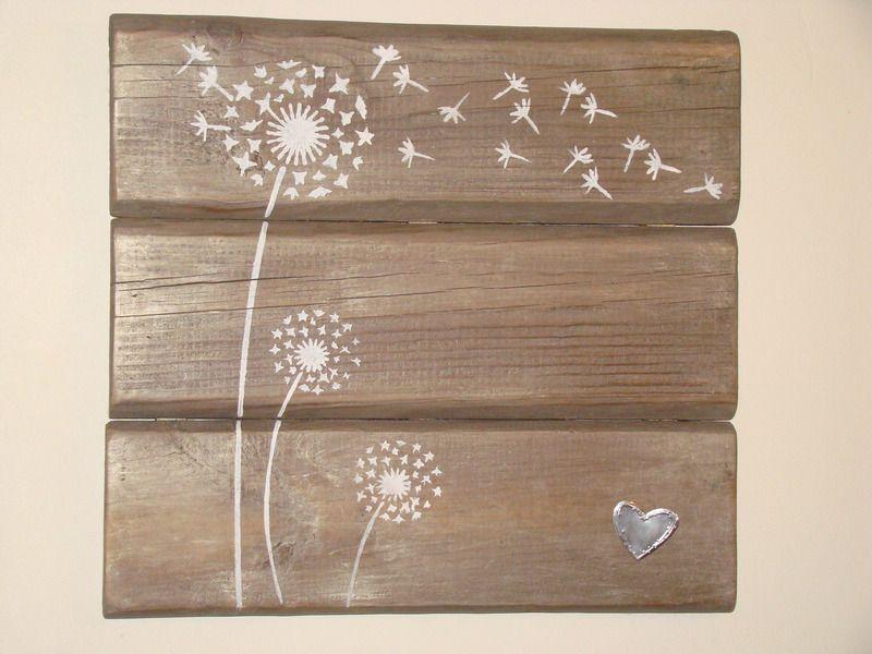 tableau bois patiné et décor pissenlit - cadres - Mes jolies patines - tour a bois fait maison