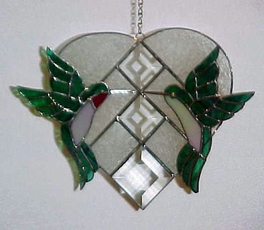 Stained glass Hummingbirds on large bevel heart (best seller) [humbirdsonlgbevelheart] - $95.00 : Glass Moose Cart, handcrafted glass, beads/supplies, jewelry, wood & metal art, signs