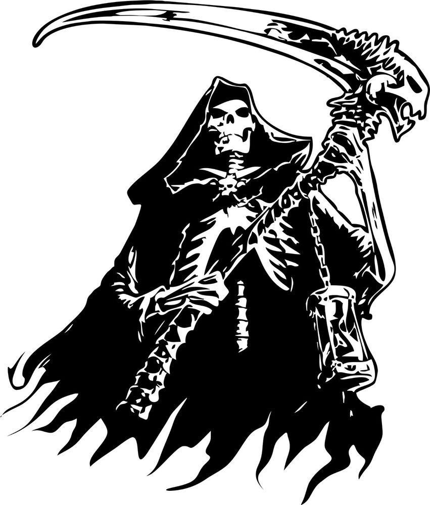 Grim Reaper Skeleton Skull Car Tattoo Boat Truck Window Vinyl - Custom vinyl decal stickers for boats