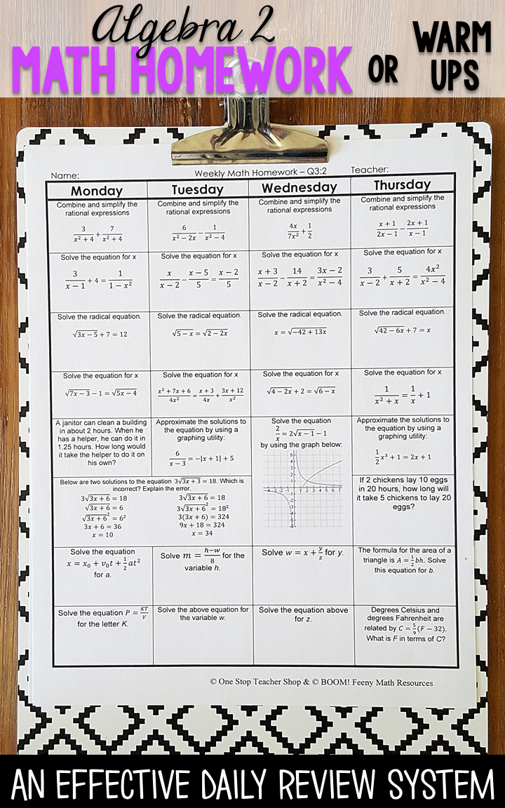 Algebra 2 homework or warm ups that provide a daily review for Algebra 2  math standards