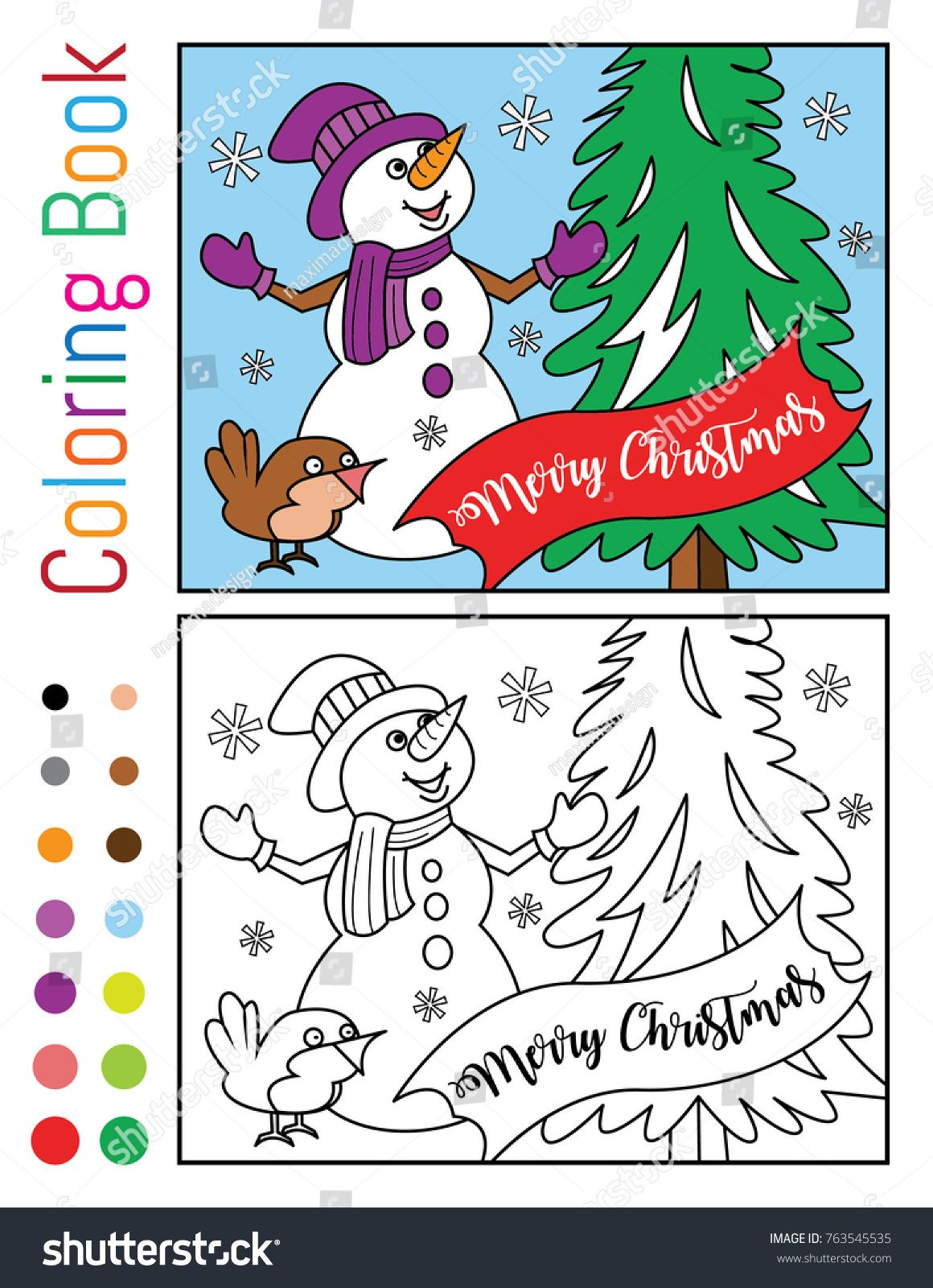 merry christmas with snowman and bird coloring book vector illustration for sale