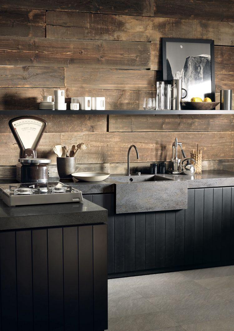 Rustikal modern  arbeitsplatte corian küche dupont rustikal modern wandverkleidung ...