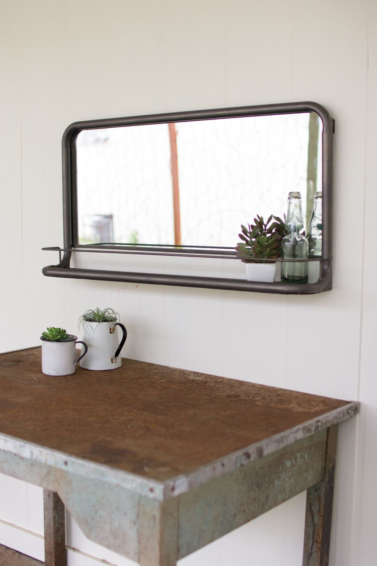 Details This Rectangular Metal Frame Pharmacy Mirror Has A Convenient Shelf For Displaying All