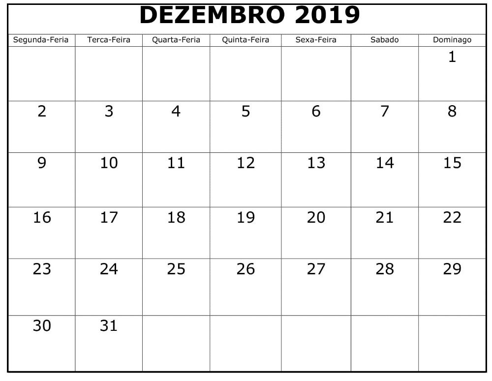 Calendario Dezembro 2019 Png