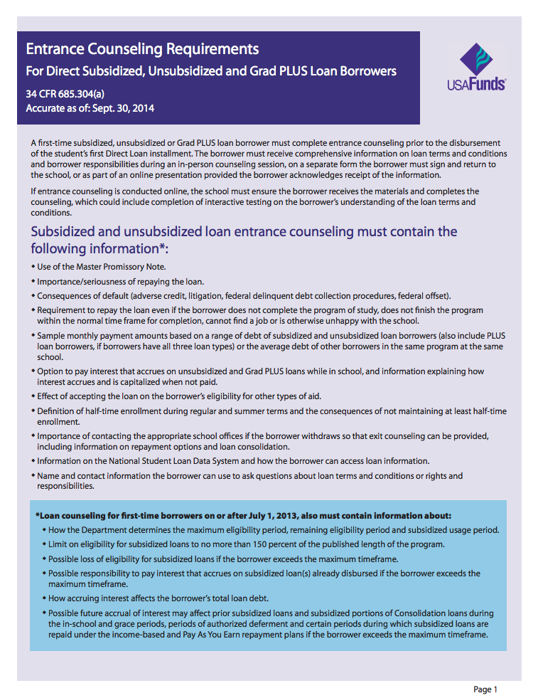 Usa Funds Exit Counseling Requirements Fact Sheet For Direct