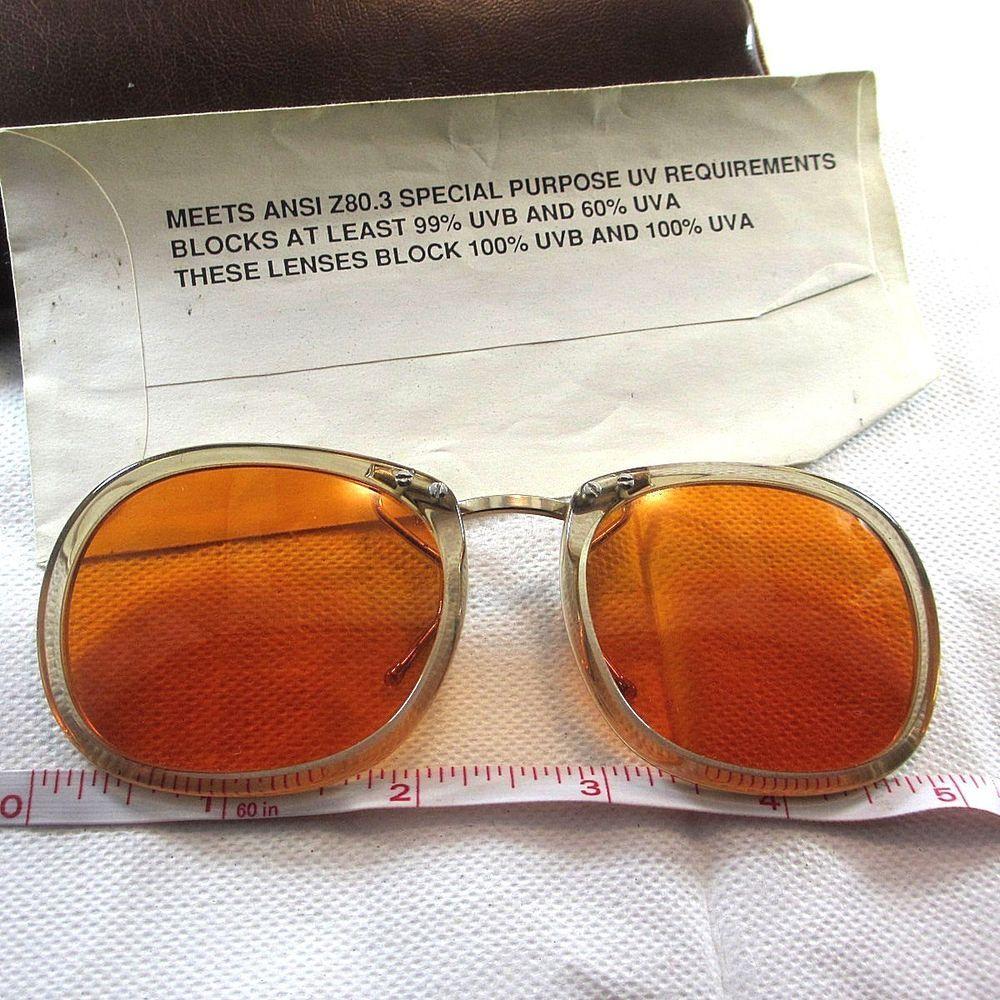 85b21b189b6d Vintage Corning Clip On Orange sunglasses spectacles glasses